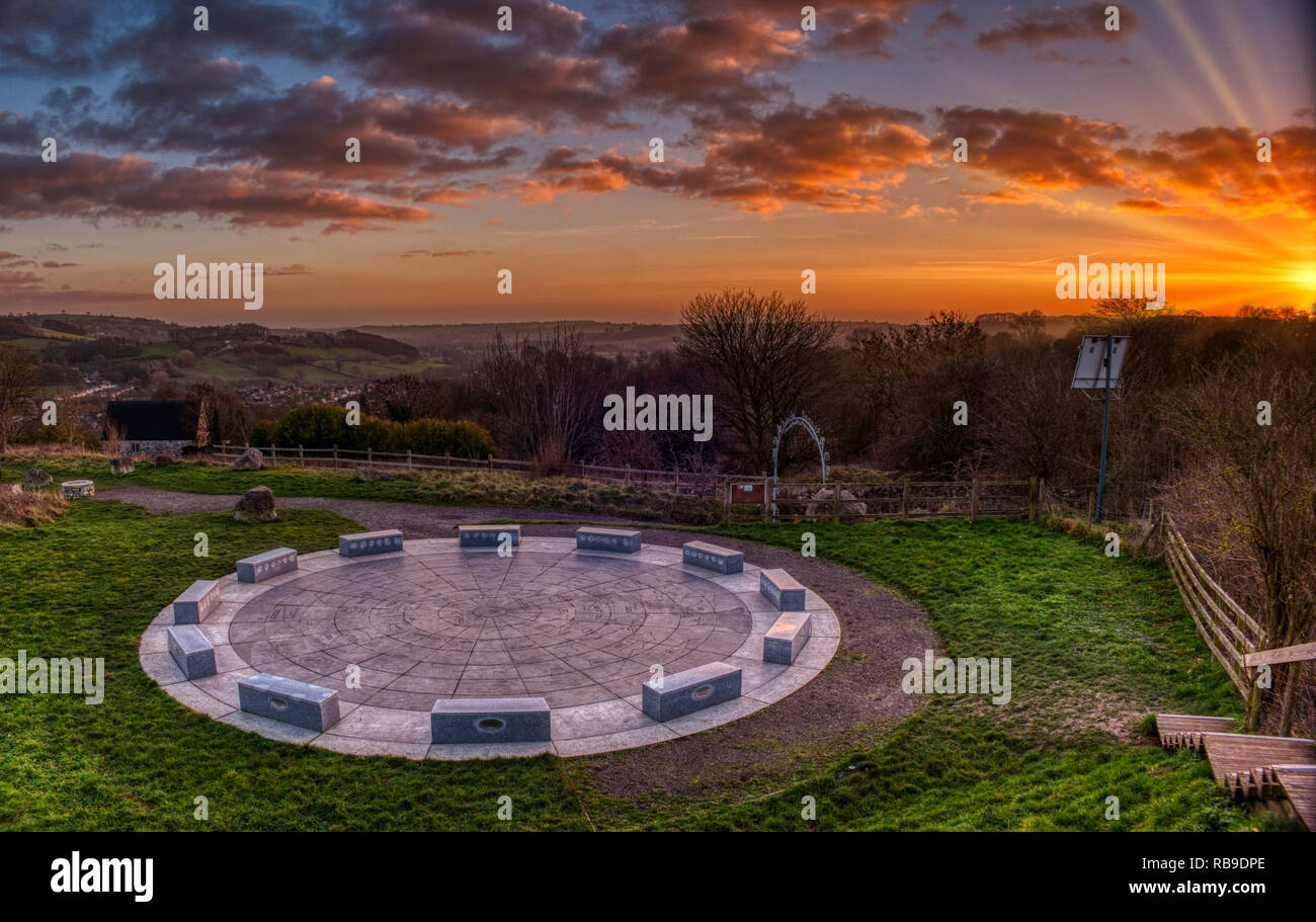 Derbyshire Dales, Peak District. 8th Jan 2019. UK Weather: spectacular sunset at the StarDisc looking over  Wirksworth in the Derbyshire Dales, Peak District HDR image Credit: Doug Blane/Alamy Live NewsStock Photo
