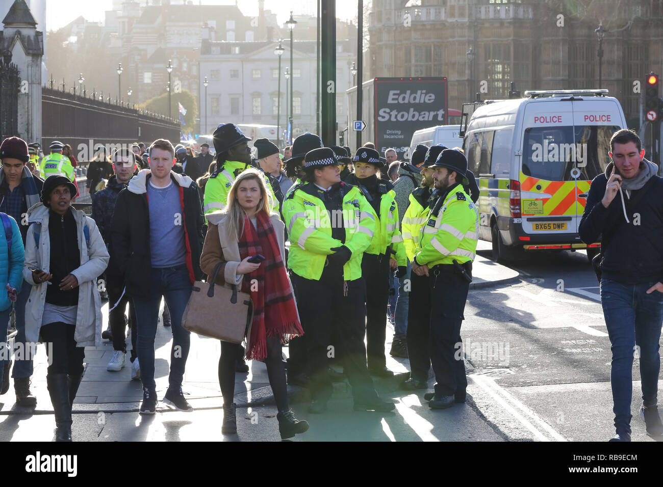 London, UK. 8th Jan, 2019. Extras police officers seen outside the House of Parliament in Westminster.Anti-Brexit demonstrators gather outside the British Parliament a week before the MPs to vote on the finalized Brexit deal, MPs will vote on Theresa May's Brexit deal on 15 January. Credit: Dinendra Haria/SOPA Images/ZUMA Wire/Alamy Live News - Stock Image