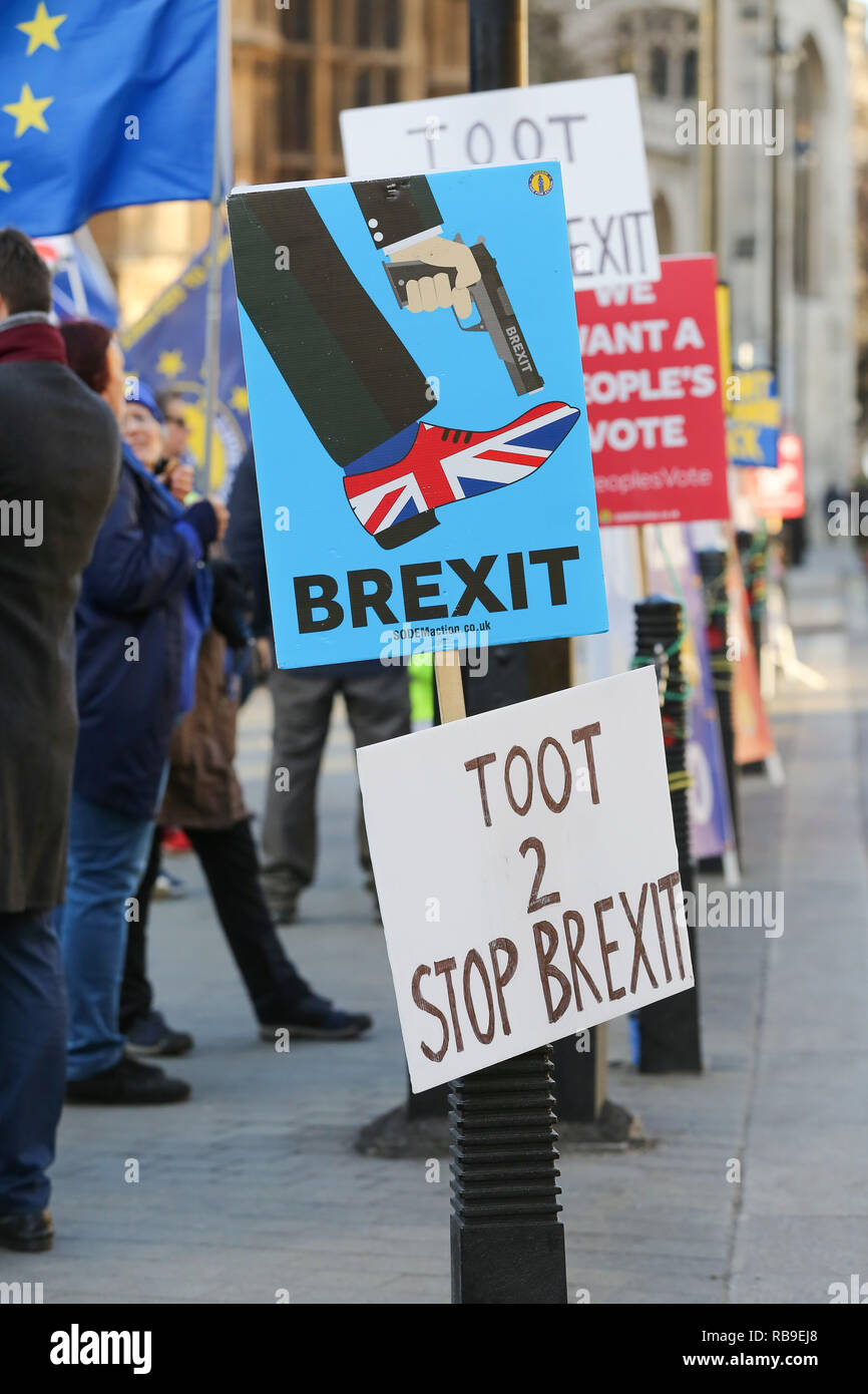 London, UK. 8th Jan, 2019. Pro -Brexit placards are seen hanging on pole during the protest.Anti Brexit demonstrators gather outside the British Parliament a week before the MPs to vote on the finalized Brexit deal, MPs will vote on Theresa May's Brexit deal on Tuesday, 15 January. Credit: Dinendra Haria/SOPA Images/ZUMA Wire/Alamy Live News - Stock Image