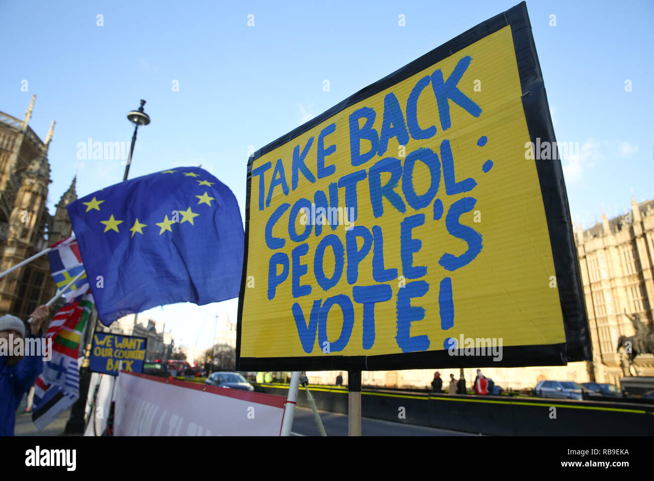 London, UK. 8th Jan, 2019. Anti-Brexit demonstrator seen waving European Union flags during the protest.Anti Brexit demonstrators gather outside the British Parliament a week before the MPs to vote on the finalized Brexit deal, MPs will vote on Theresa May's Brexit deal on Tuesday, 15 January. Credit: Dinendra Haria/SOPA Images/ZUMA Wire/Alamy Live News - Stock Image