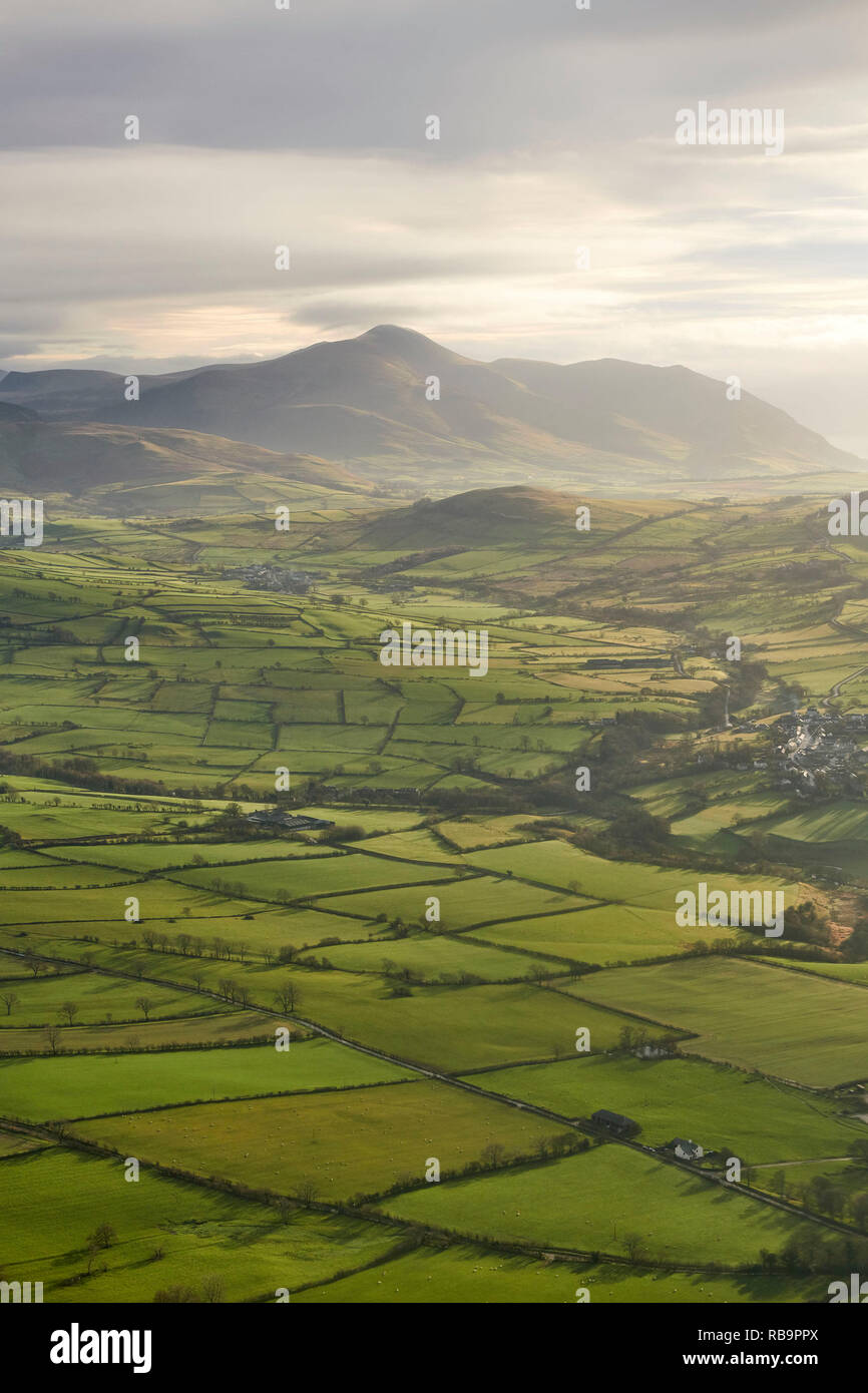 Winter light casting shadows on Lake District field patterns, north of Bassenthwaite Lake, Cumbria, NW England, UK Stock Photo