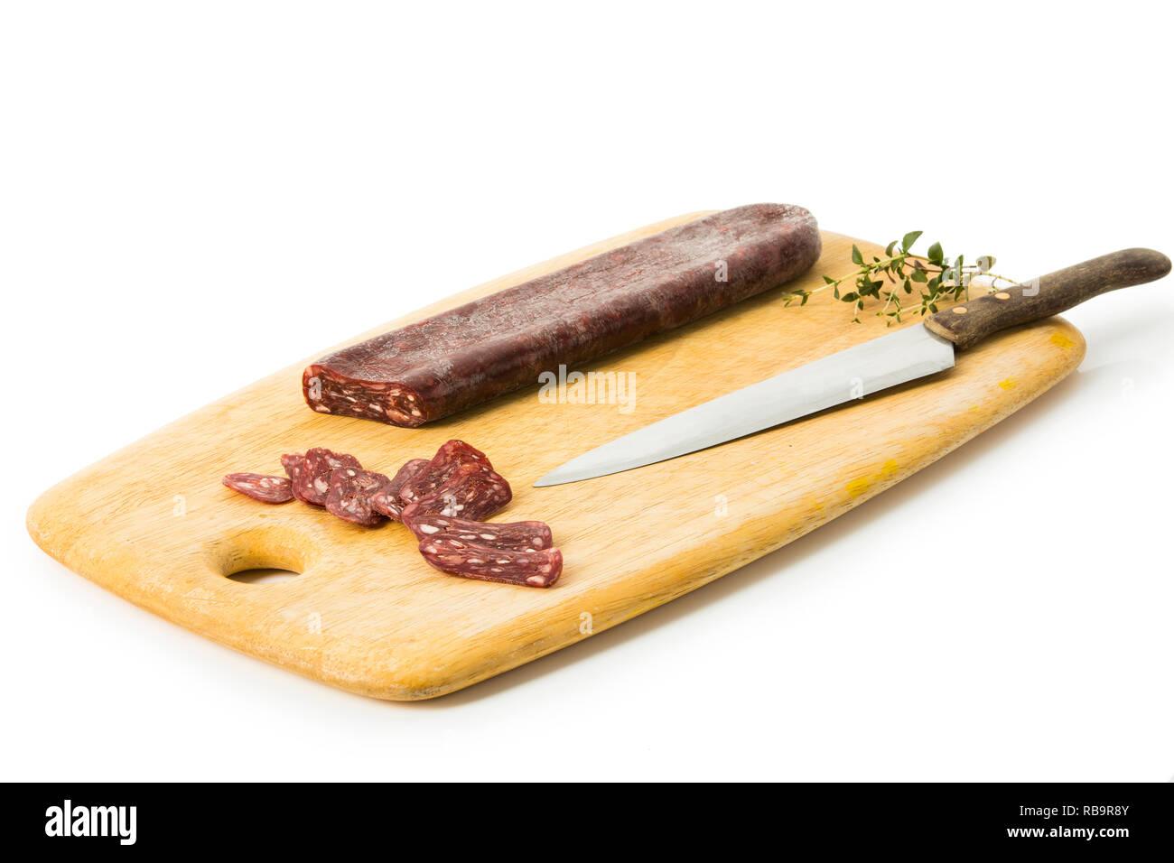 Salami aus Büffelfleisch Stock Photo