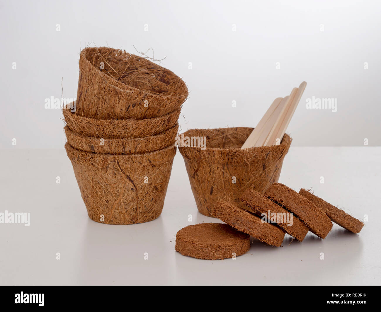 Coir plant pots and compressed compost with wooden labels. Environmentally friendly spring gardening. Pale background. - Stock Image