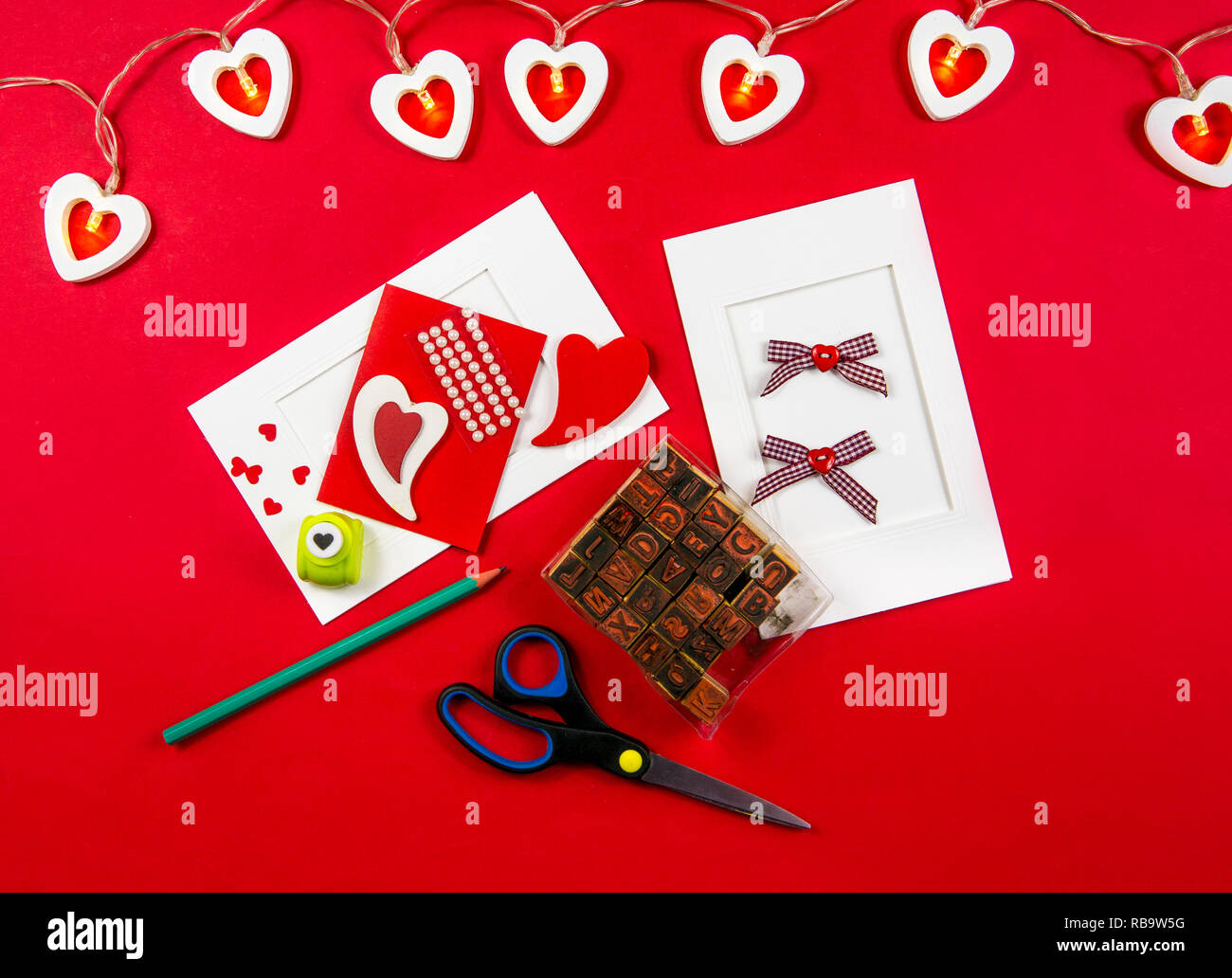 Making Valentine's day postcard concept. Made with love for friends and lover. Stock Photo