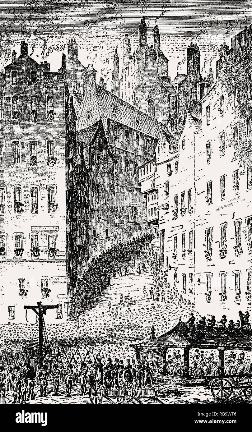 Foot of the West Bow and the gallows, Grassmarket, Edinburgh, Scotland, 19th century - Stock Image