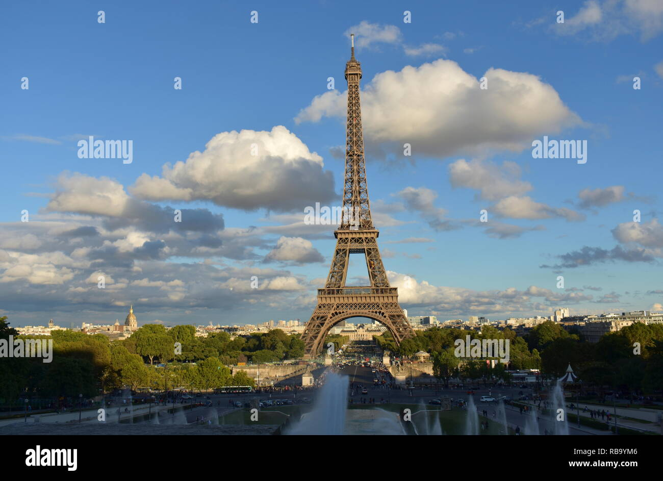 Eiffel Tower from Trocadero. Paris, France. Blue sky with clouds, sunset. - Stock Image