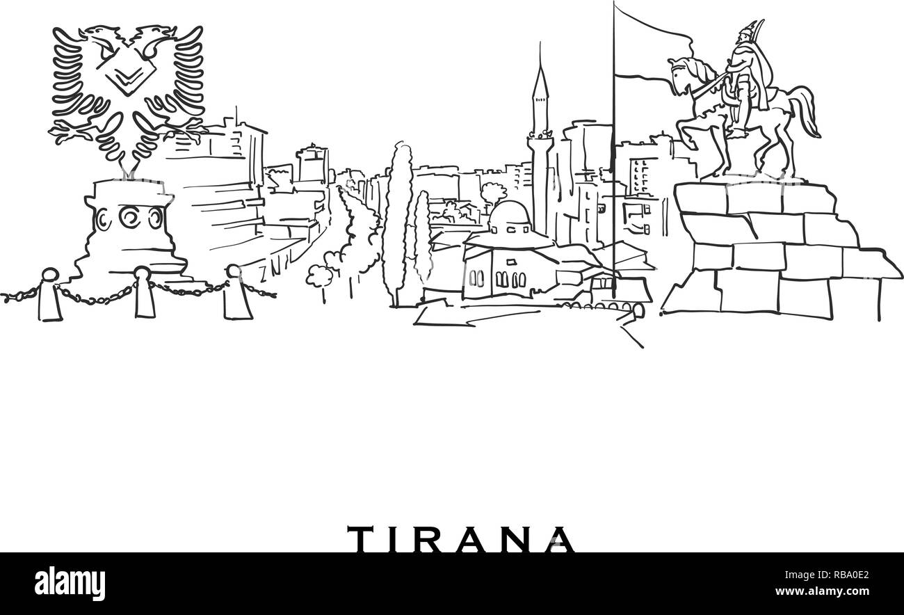 Tirana Albania famous architecture. Outlined vector sketch separated on white background. Architecture drawings of all European capitals. - Stock Vector