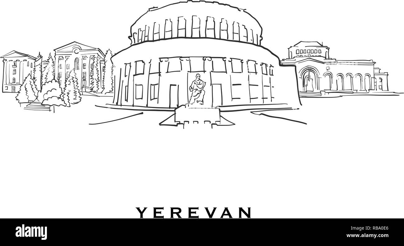 Yerevan Armenia famous architecture. Outlined vector sketch separated on white background. Architecture drawings of all European capitals. - Stock Vector