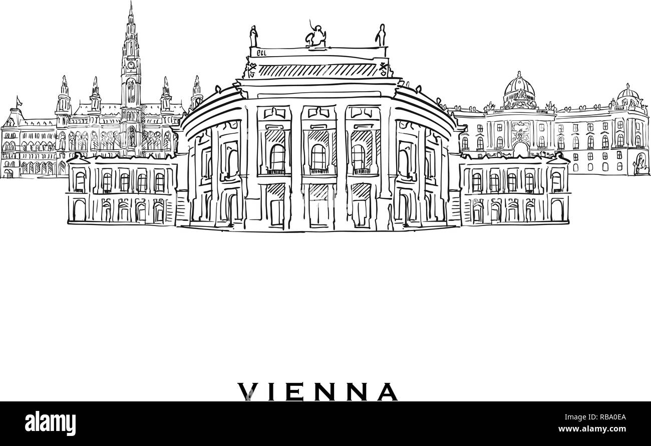 Vienna Austria famous architecture. Outlined vector sketch separated on white background. Architecture drawings of all European capitals. - Stock Vector