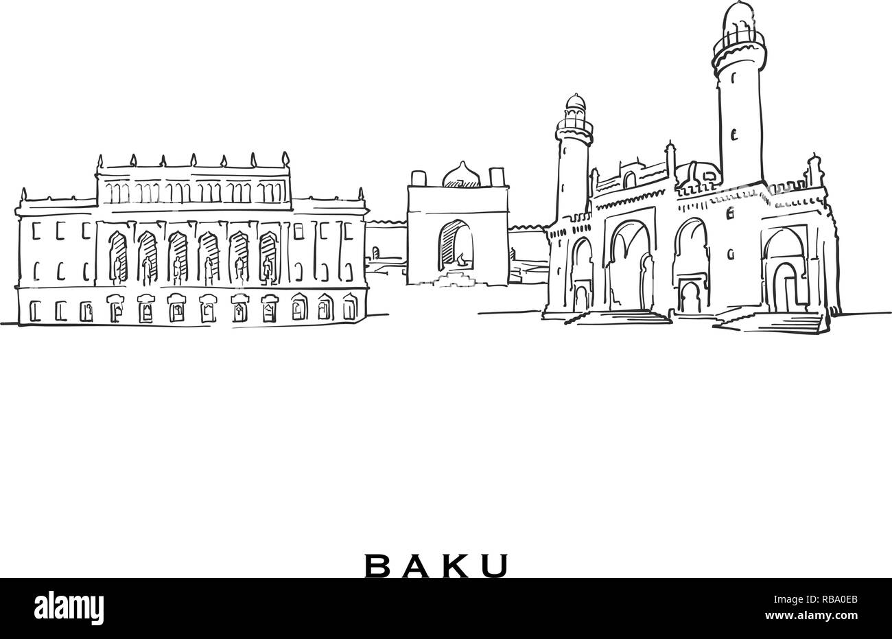 Baku Azerbaijan famous architecture. Outlined vector sketch separated on white background. Architecture drawings of all European capitals. - Stock Vector