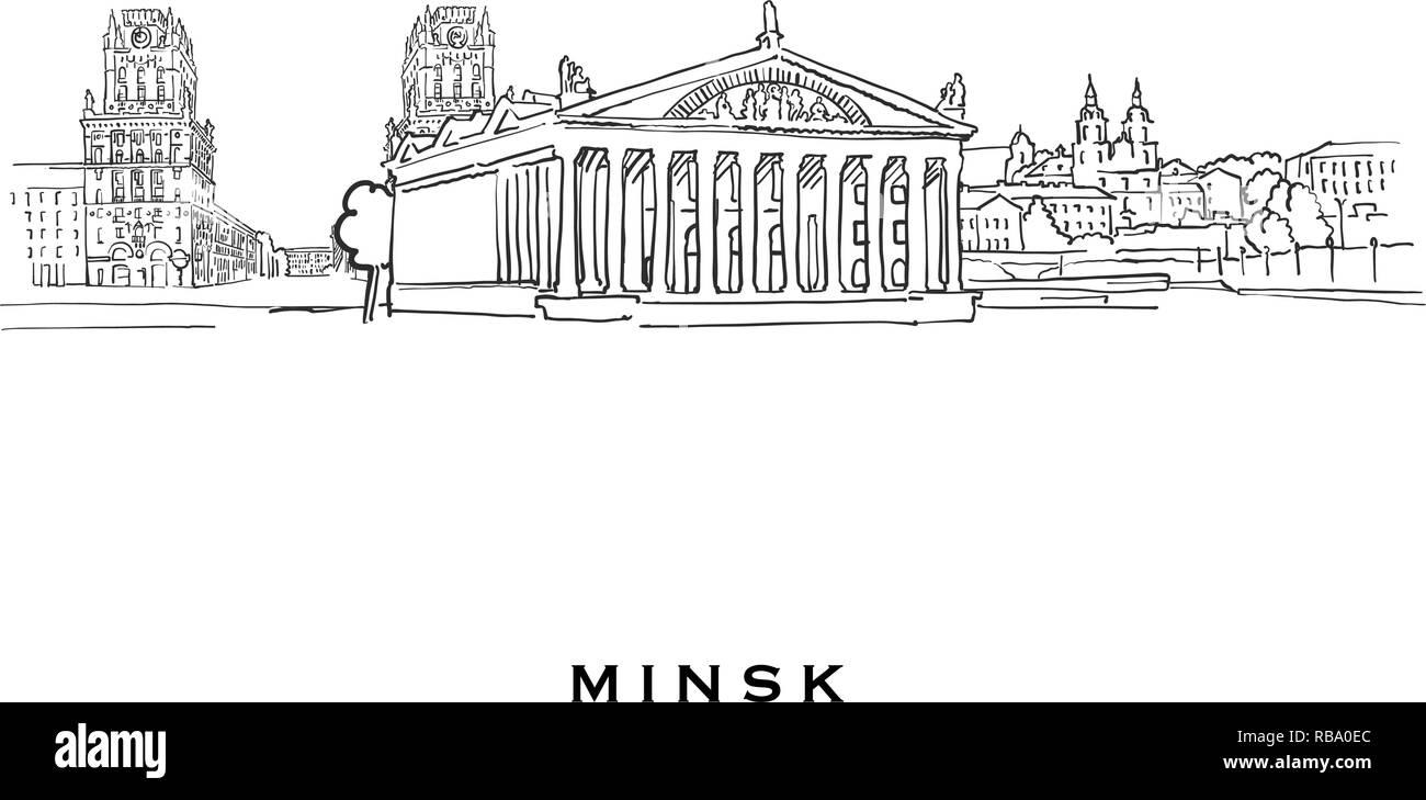 Minsk Belarus famous architecture  Outlined vector sketch