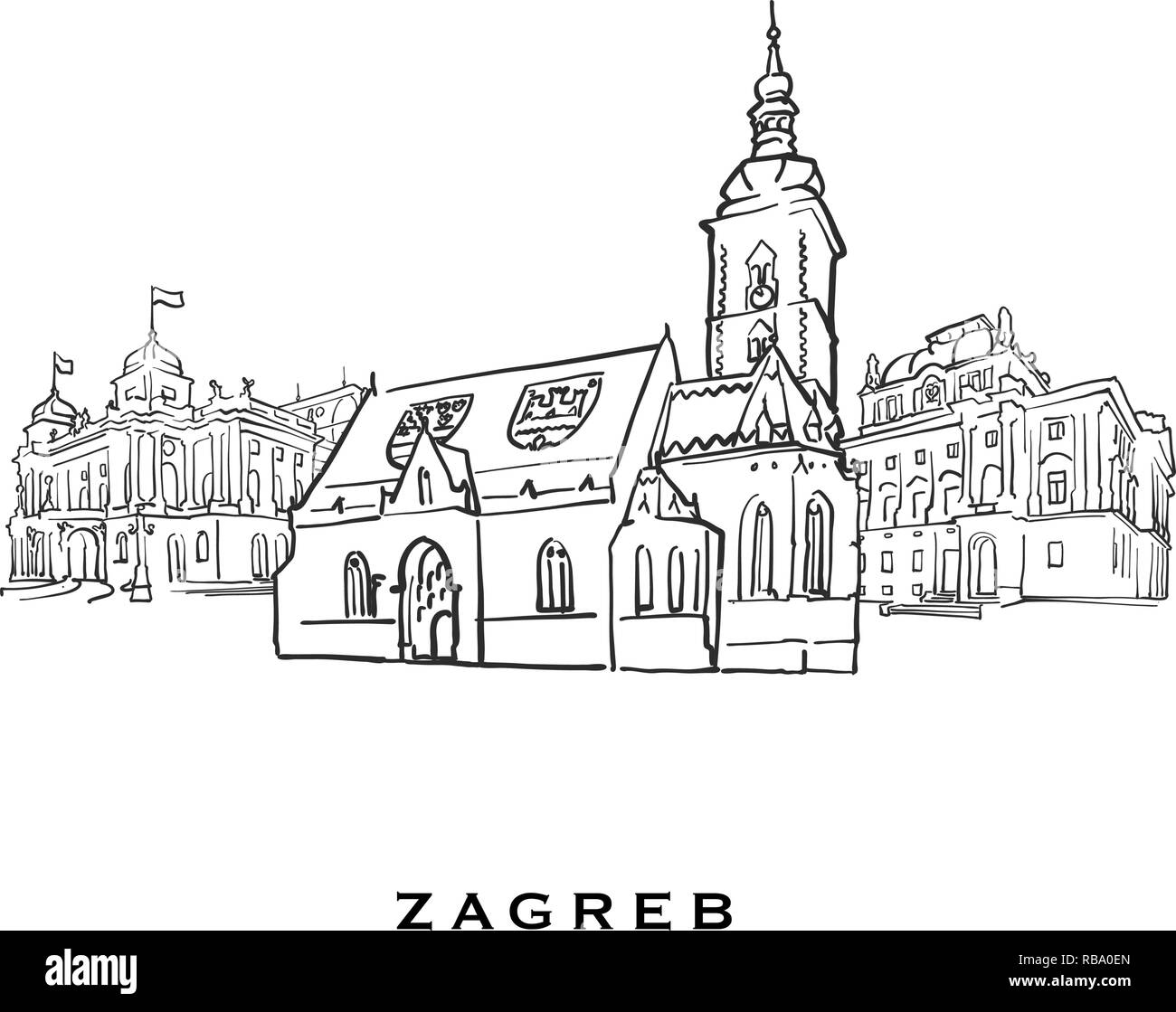 Zagreb Croatia famous architecture. Outlined vector sketch separated on white background. Architecture drawings of all European capitals. - Stock Vector