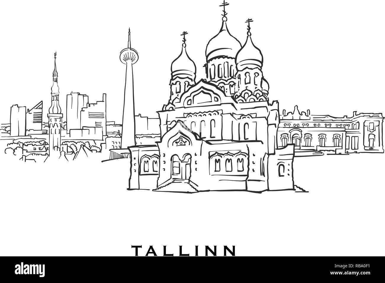 Tallinn Estonia famous architecture  Outlined vector sketch