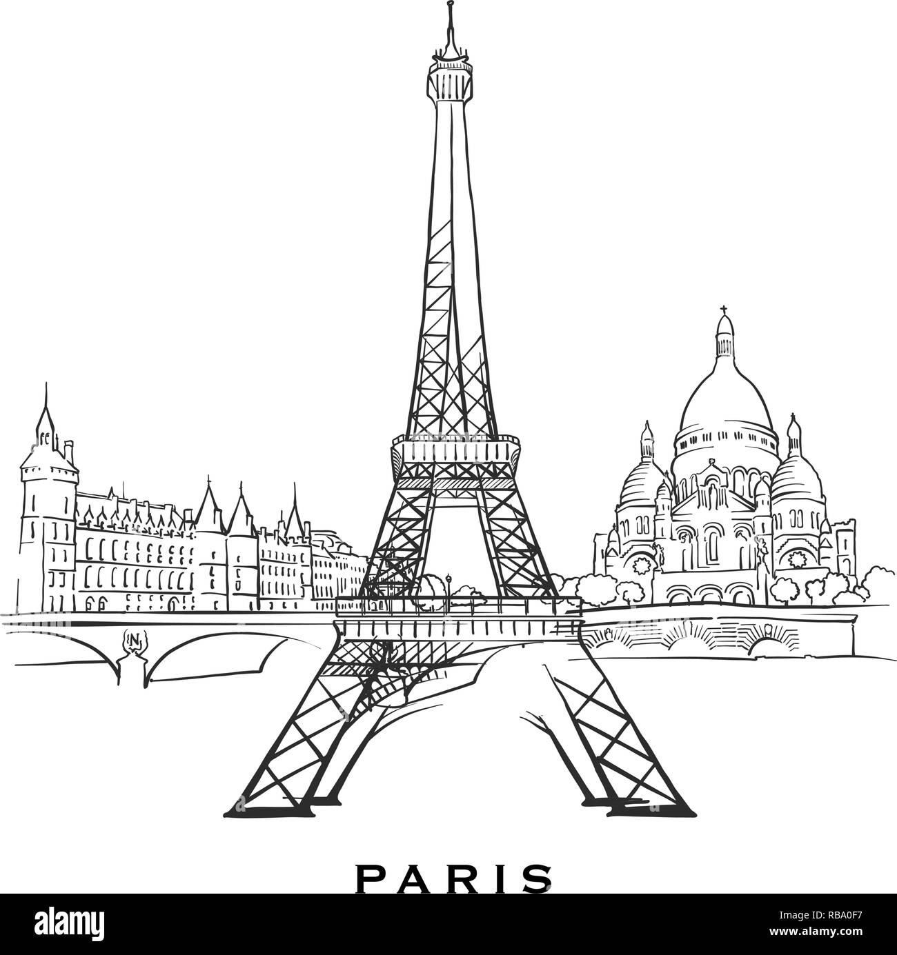 Outlined vector sketch separated on white background architecture drawings of all european capitals