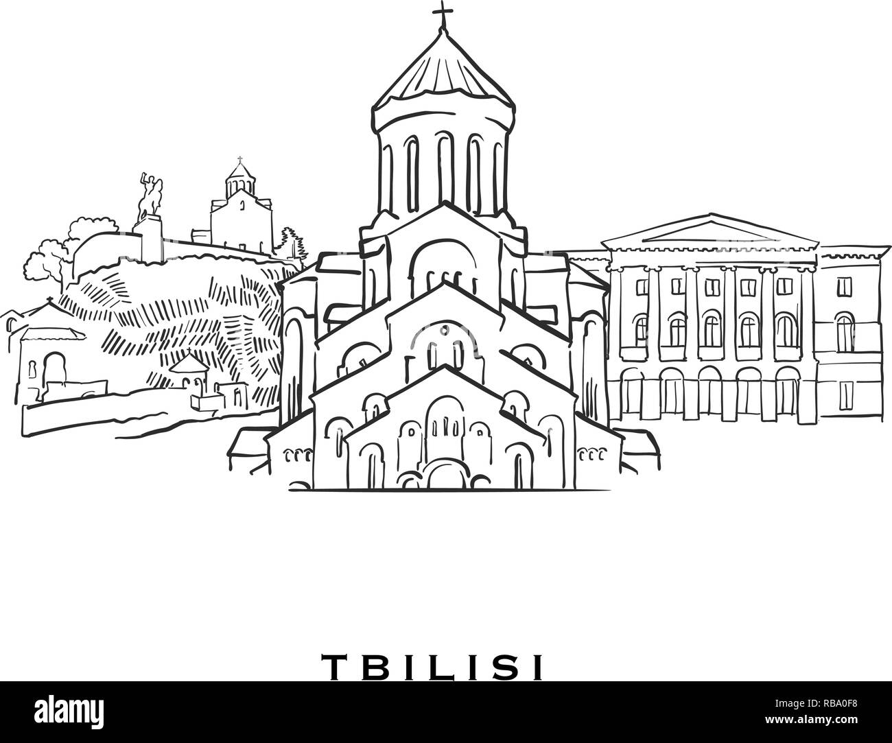Tbilisi Georgia famous architecture  Outlined vector sketch
