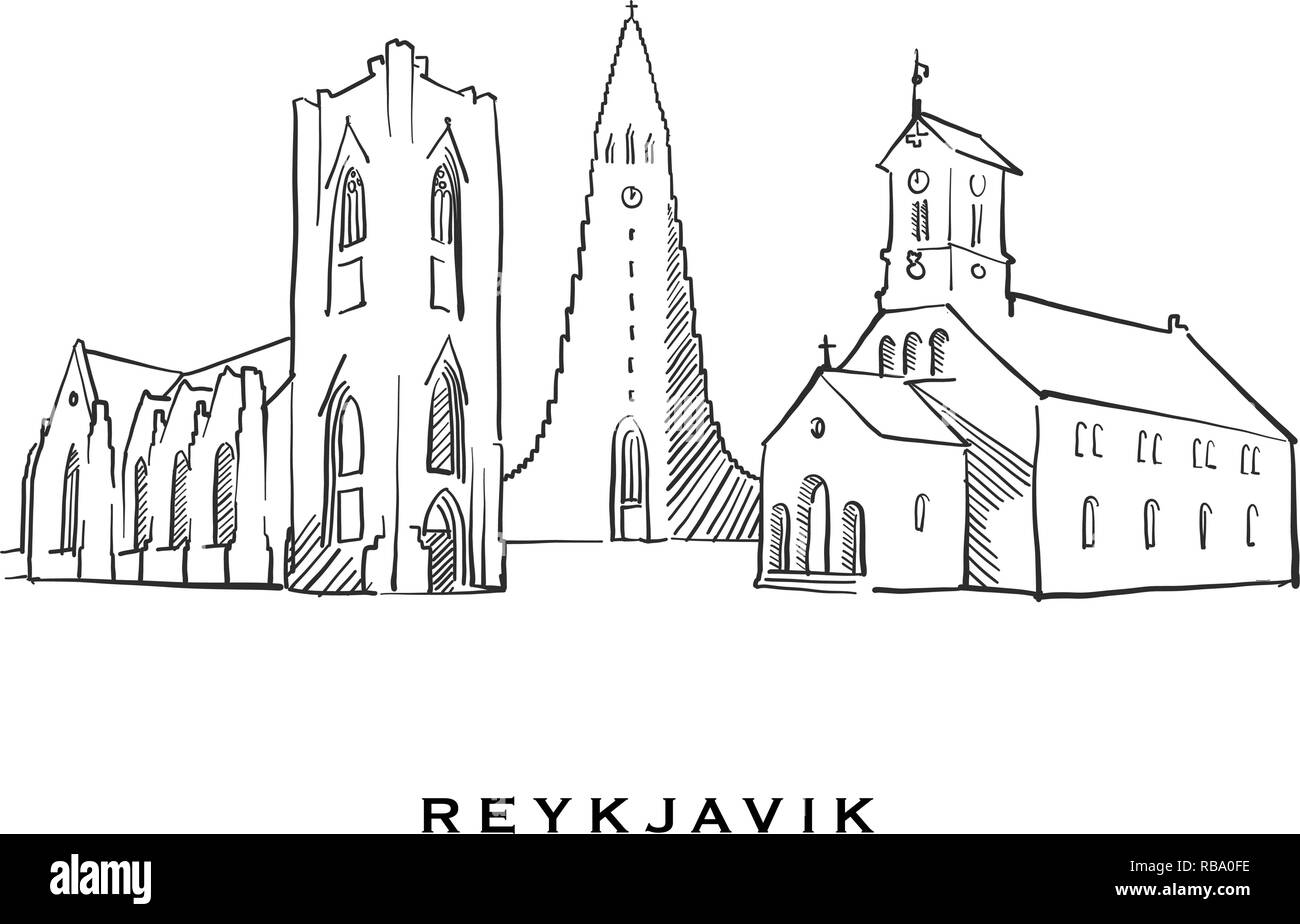 Reykjavik Iceland famous architecture. Outlined vector sketch separated on white background. Architecture drawings of all European capitals. - Stock Vector