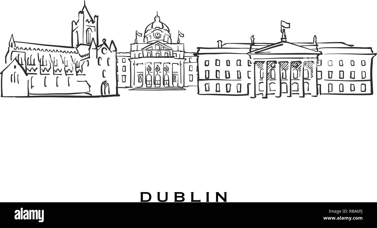 Dublin Ireland famous architecture  Outlined vector sketch separated
