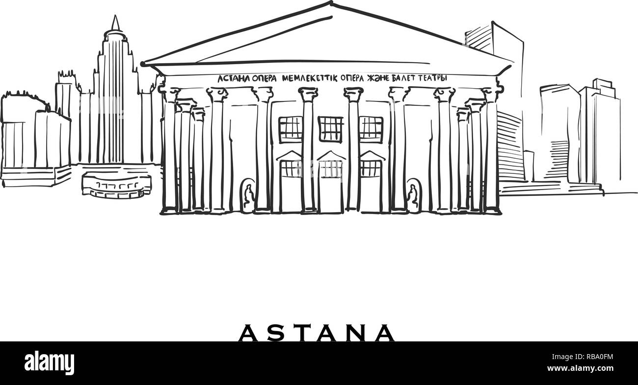 Astana Kazakhstan famous architecture. Outlined vector sketch separated on white background. Architecture drawings of all European capitals. - Stock Vector
