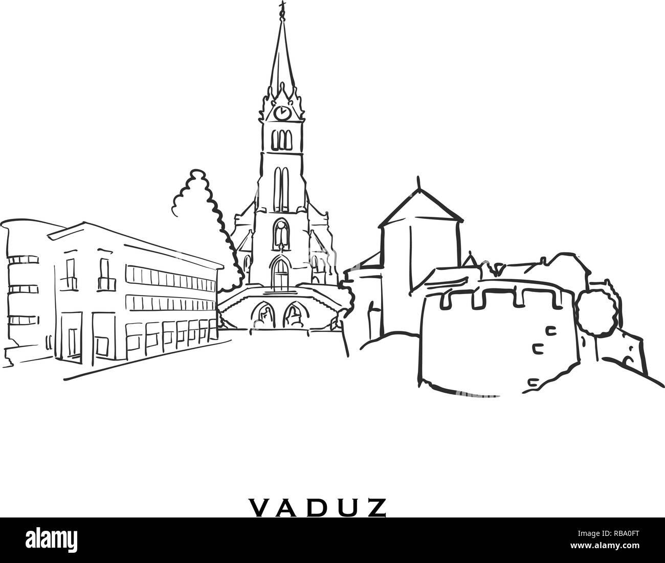 Vaduz Liechtenstein famous architecture  Outlined vector