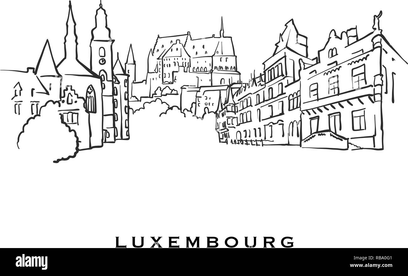 Luxembourg famous architecture. Outlined vector sketch separated on white background. Architecture drawings of all European capitals. - Stock Vector