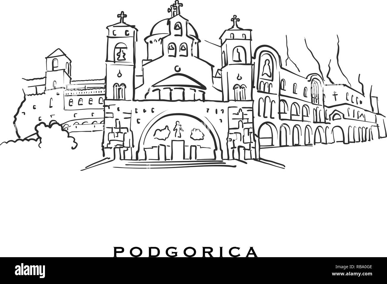Podgorica Montenegro famous architecture  Outlined vector
