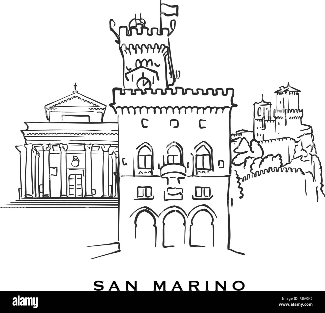 San Marino famous architecture. Outlined vector sketch separated on white background. Architecture drawings of all European capitals. - Stock Vector