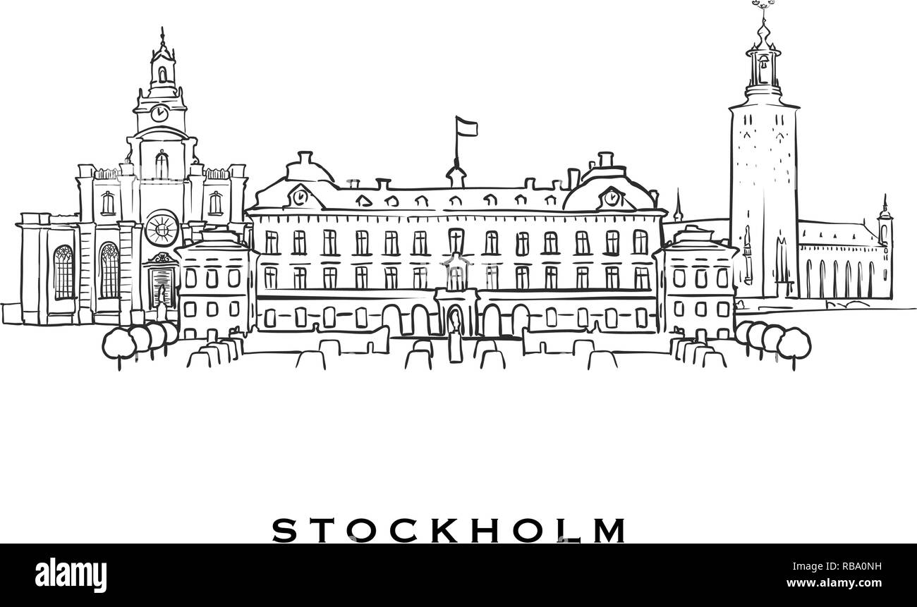 Stockholm Sweden famous architecture  Outlined vector sketch