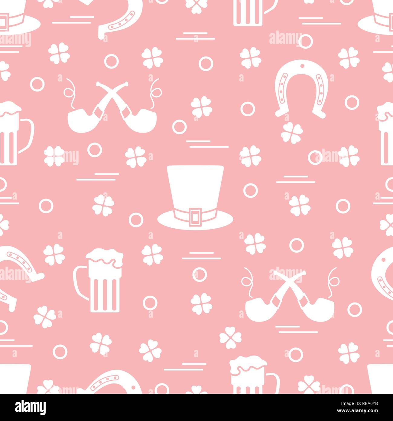 Seamless Pattern With Clover Leaves Horseshoe Beer Mug