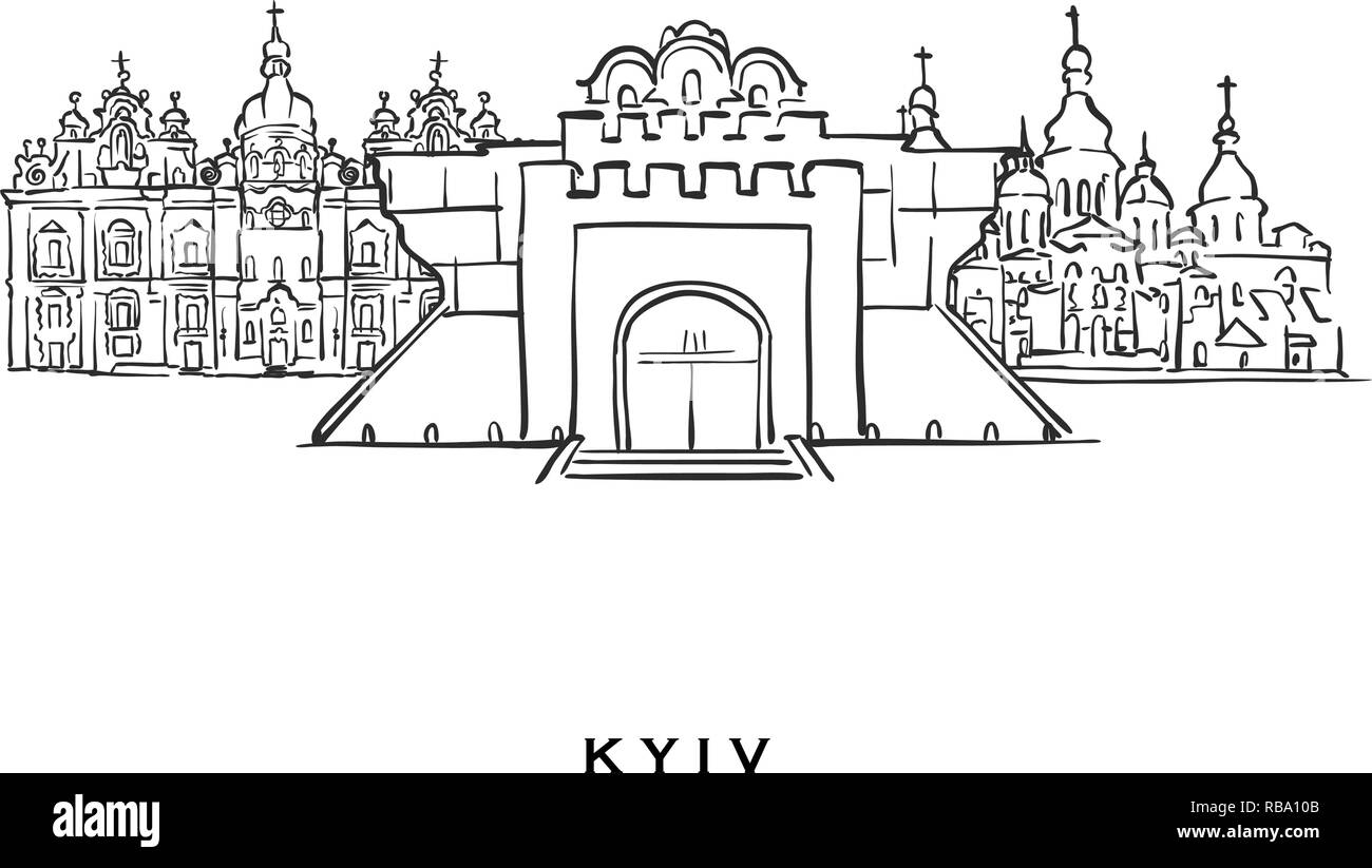 Kyiv Ukraine famous architecture. Outlined vector sketch separated on white background. Architecture drawings of all European capitals. - Stock Vector