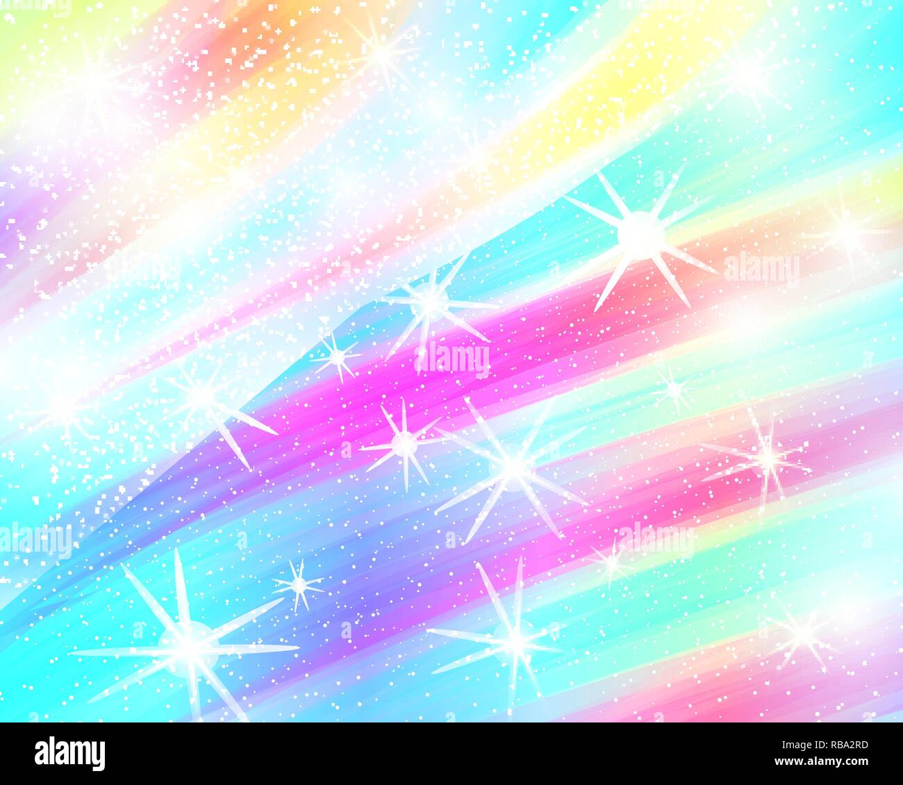 unicorn rainbow background holographic sky in pastel color bright mermaid pattern in princess colors vector illustration fantasy gradient colorful RBA2RD