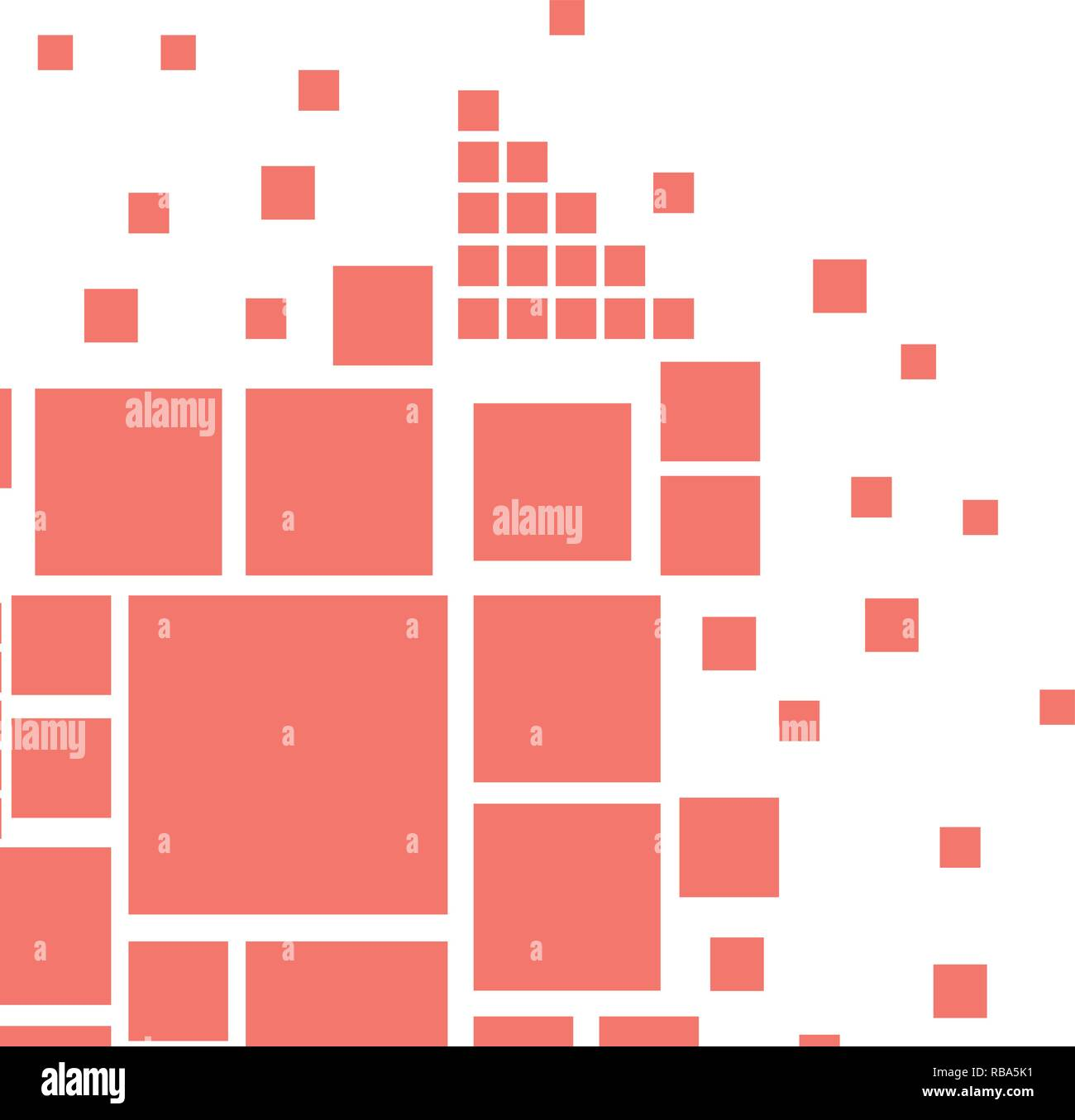 Abstract vector cover design with square shapes in Living Coral trend color. Stock Vector