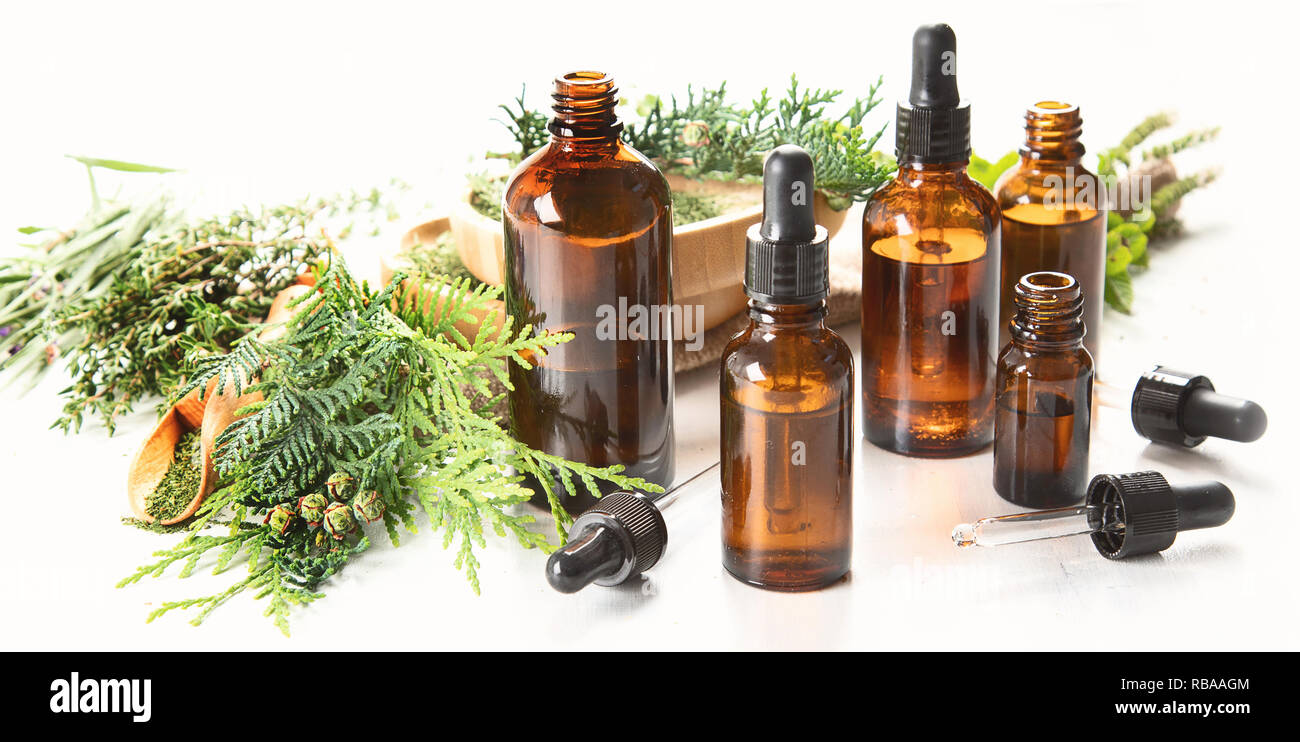 Bottles Of Essential Oils Herbal Medicine Aromatherapy Banner Stock Photo Alamy