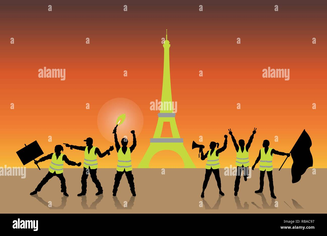 Yellow vests movement in Paris France in front of Eiffel Tower. All the objects, shadows and background are in different layers. - Stock Vector