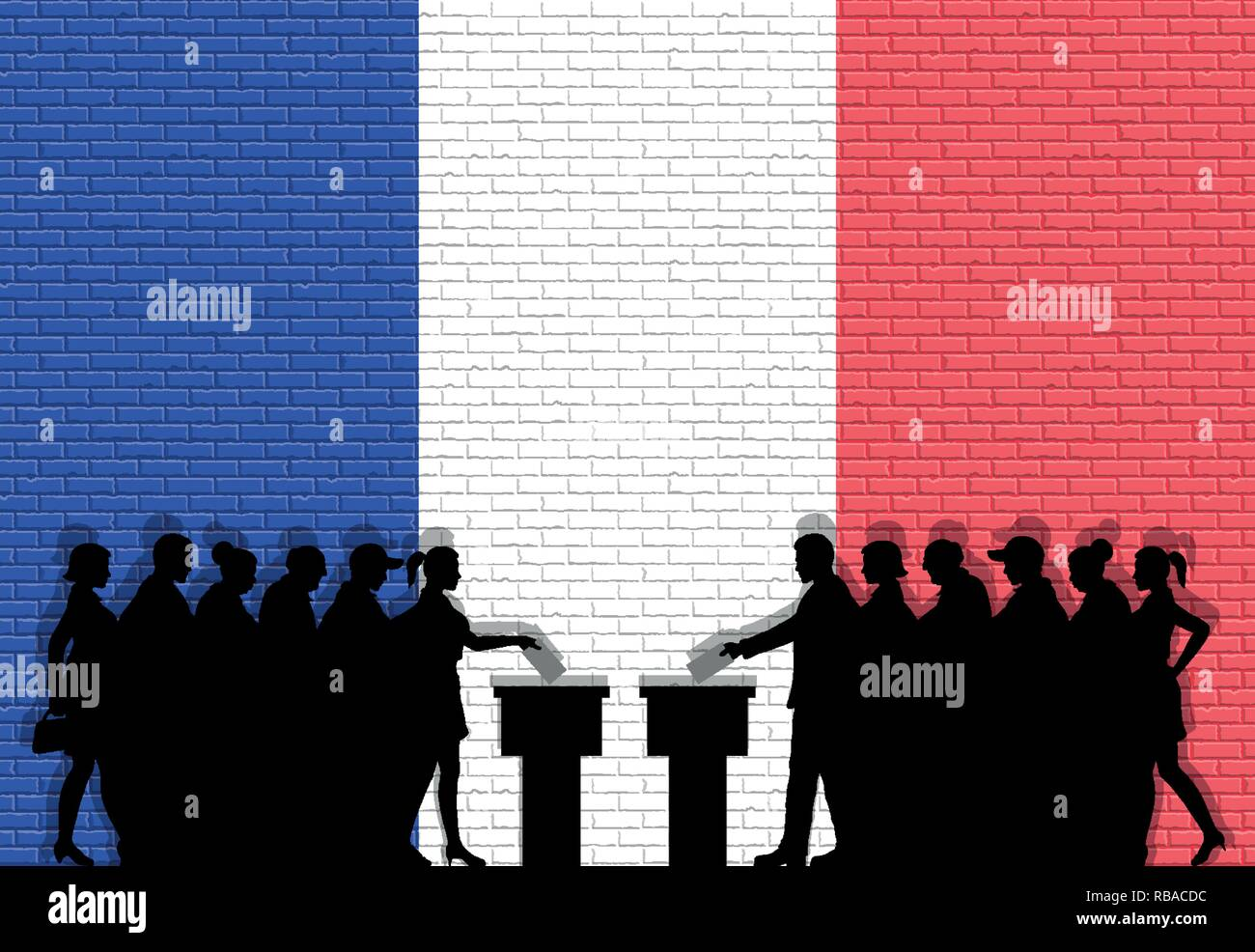 French voters crowd silhouette in election with France flag graffiti in front of brick wall. All the silhouette objects, icons and background are in d - Stock Vector