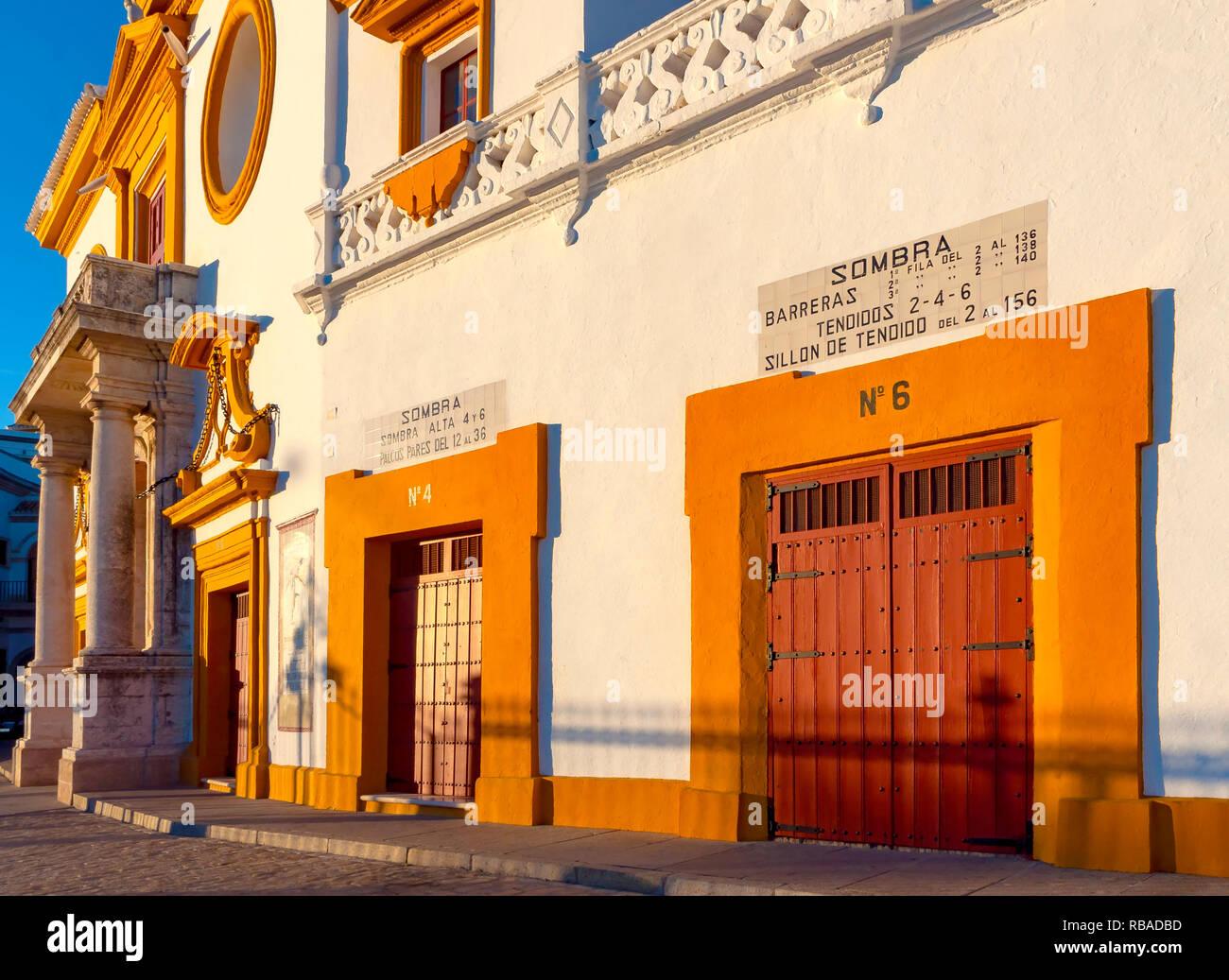 Detail the colorful Baroque facade of Plaza de Toros de la Maestranza, the famous bullring of Seville - Stock Image