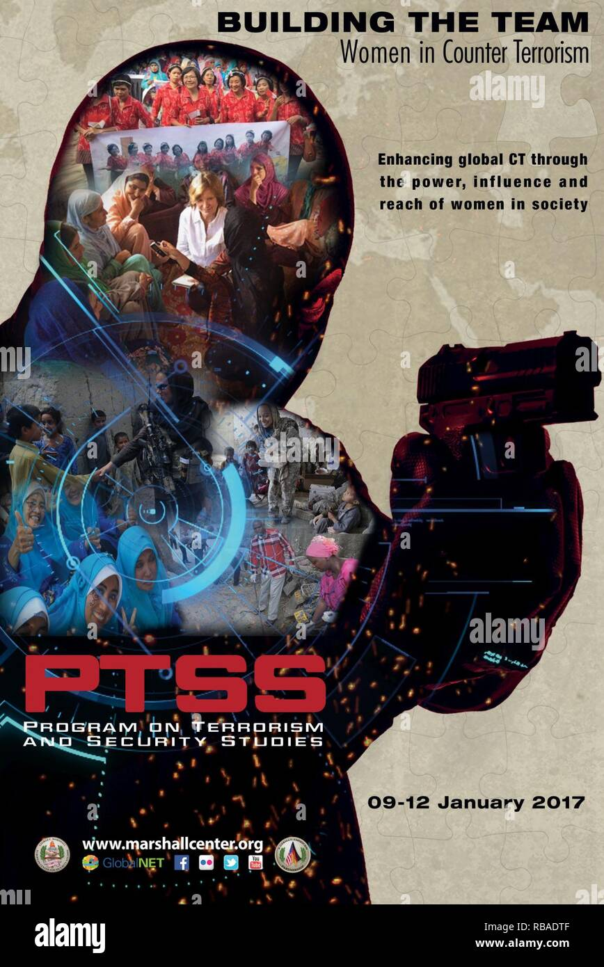The George C. Marshall European Center brought PTSS alumni back to GCMC to discuss the role of women in counter terrorism Jan 9-12, 2017.  This was the event poster. - Stock Image