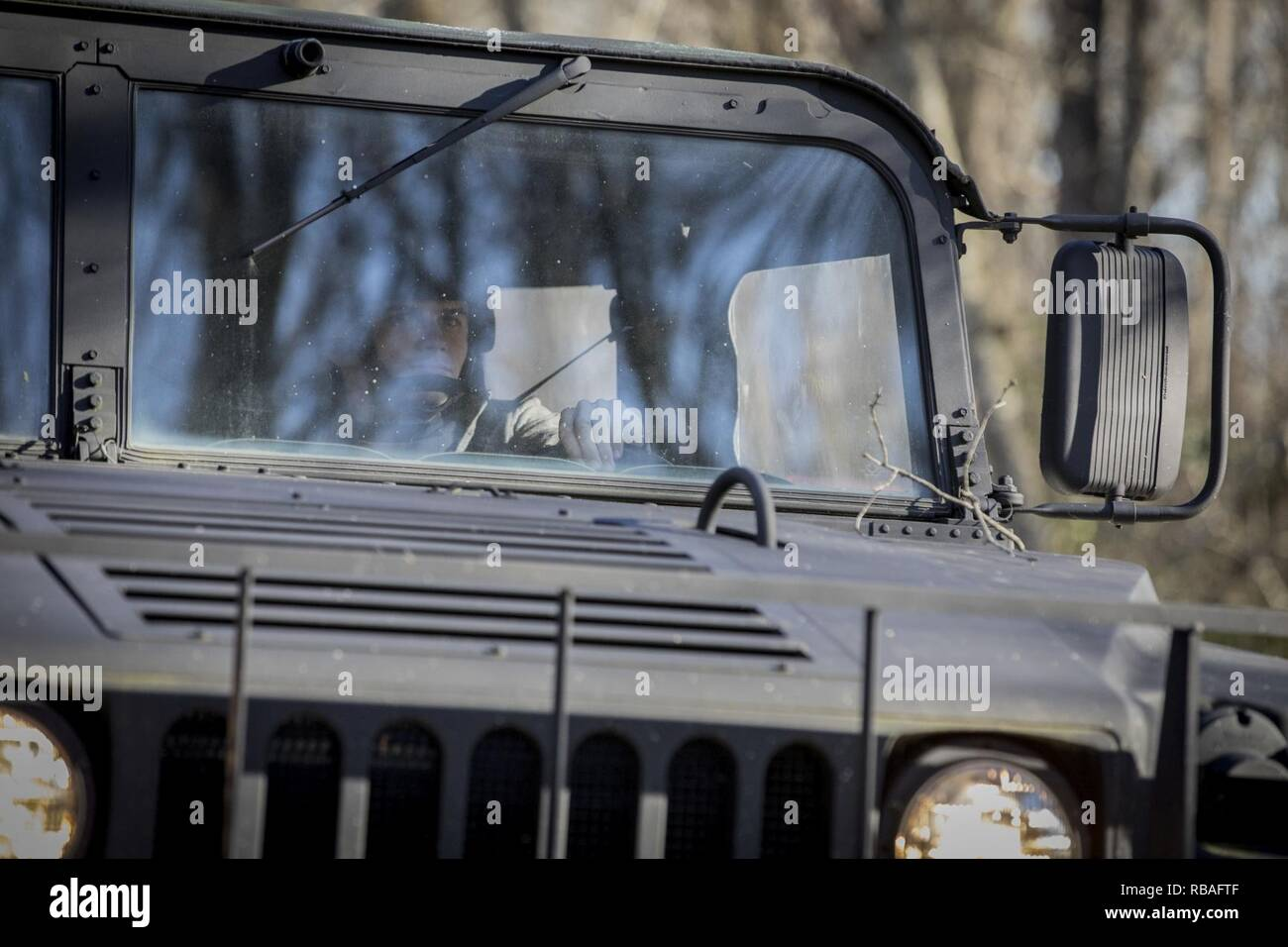 A Humvee from a New Jersey police department is driven on