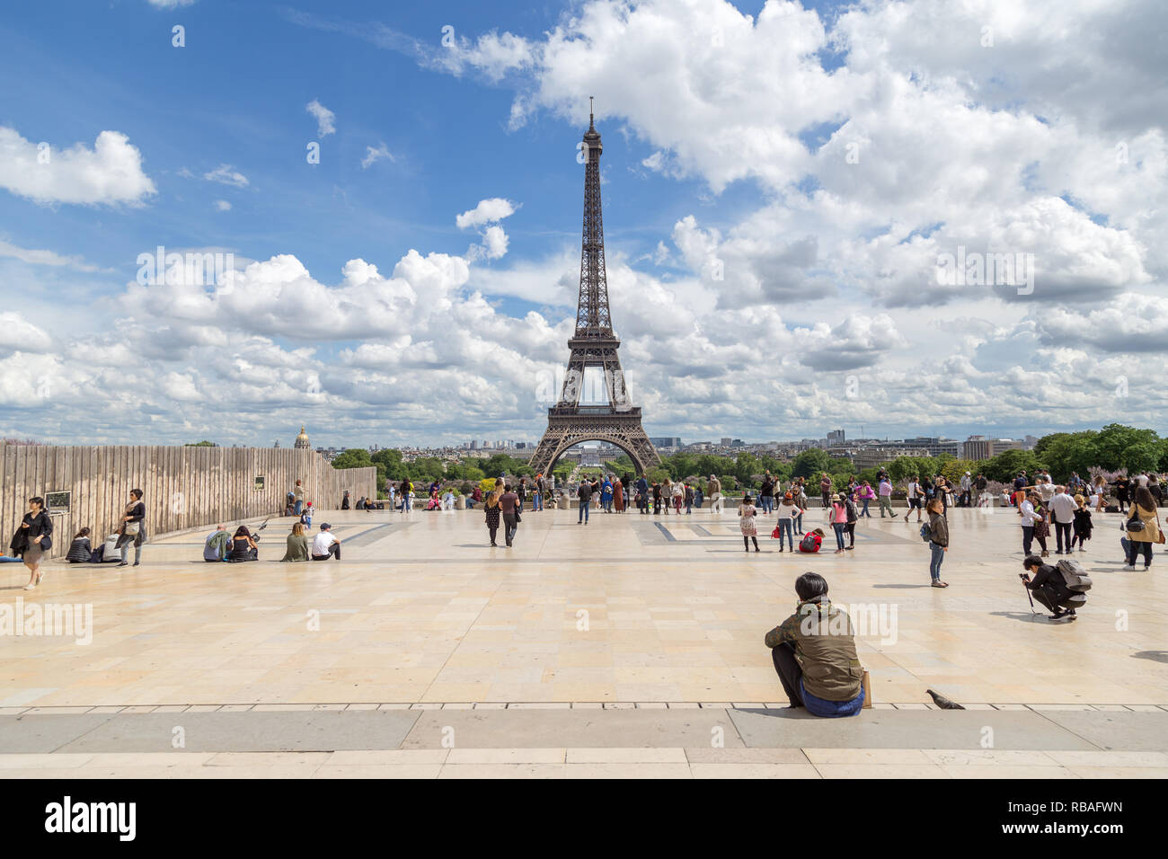 Eiffel Tower and Trocadero Sqaure in Paris - Stock Image