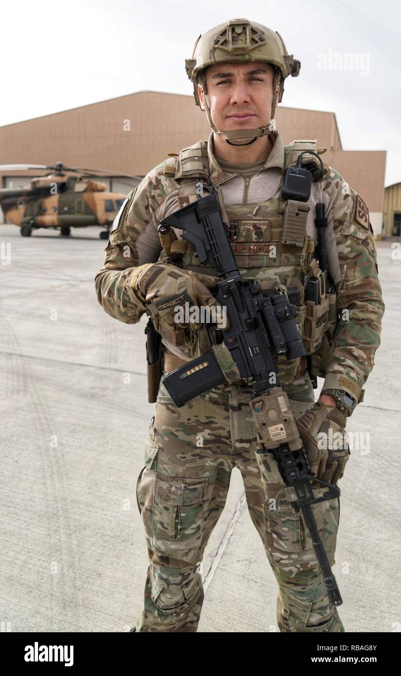 A U S  Air Force Security Forces member pulls security for