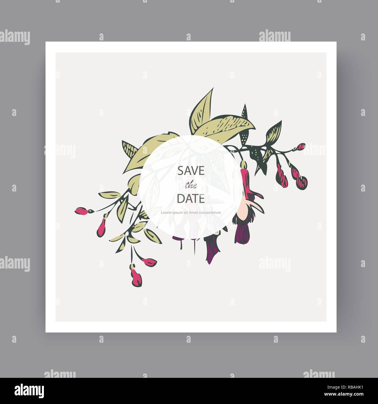 Botanical Wedding Invitation Card Template Design Hand