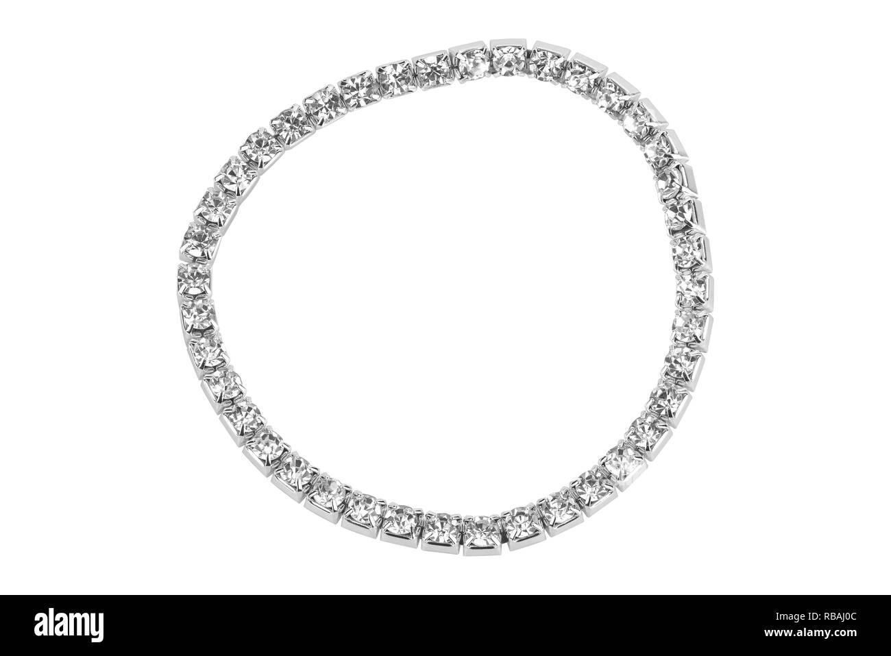 Elastic metallic bracelet with semiprecious stones, isolated on white background - Stock Image