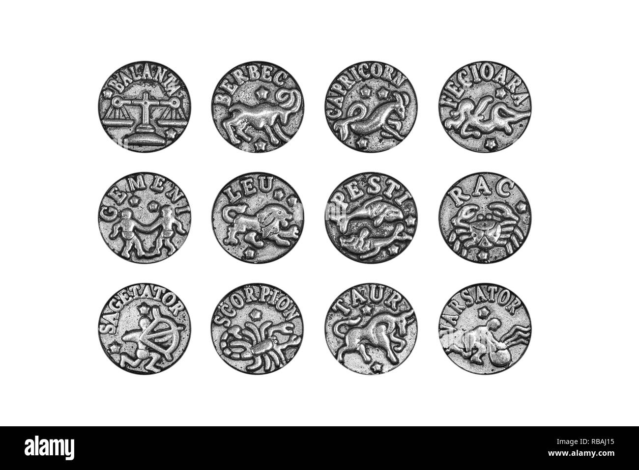 Complete set of the twelve zodiac signs charms in Romanian, isolated on white background, clipping path included - Stock Image