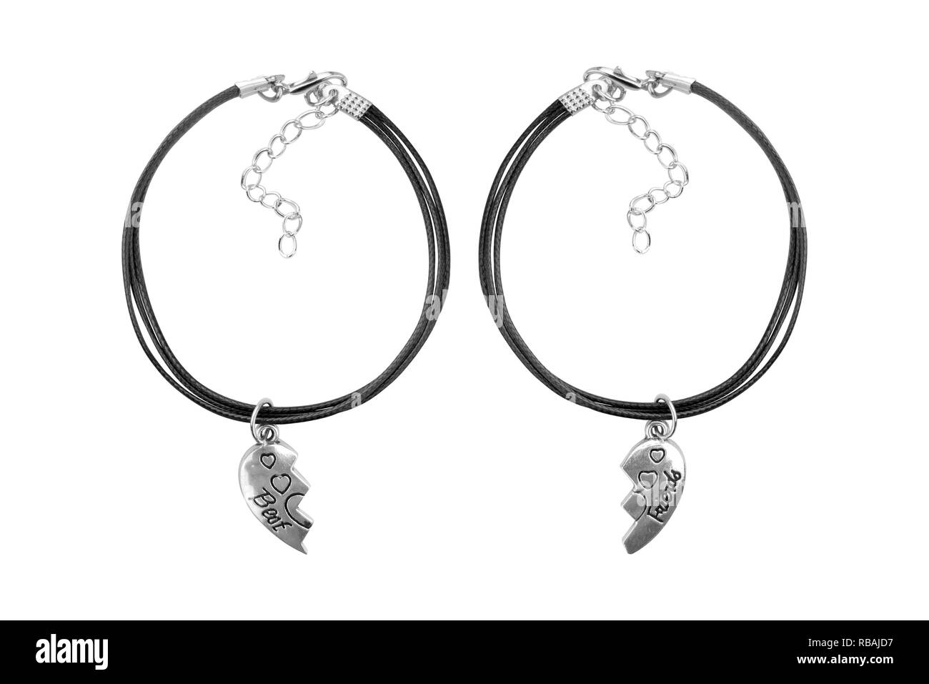 Silver and black textile adjustable bracelet with best friends pendant, isolated on white background, clipping path included - Stock Image
