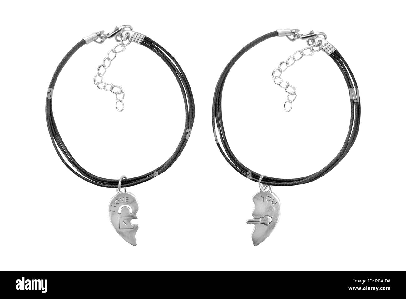 Silver and black textile adjustable bracelet with i love you pendant, isolated on white background, clipping path included - Stock Image