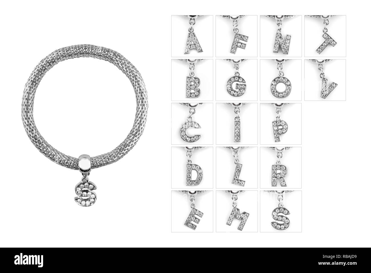 Silver bracelet with letter pendant with diamonds, isolated on white background, clipping path included. Full alphabet letters as pendants. - Stock Image