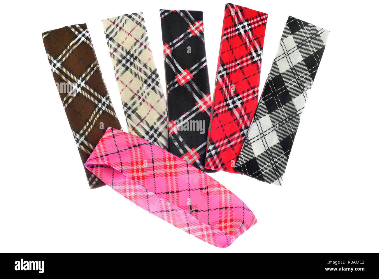 Lumberjack Plaid and Buffalo Check Patterns. Red, Black, White and Khaki Plaid, Tartan and Gingham Patterns. Trendy tartan head bands for children. - Stock Image