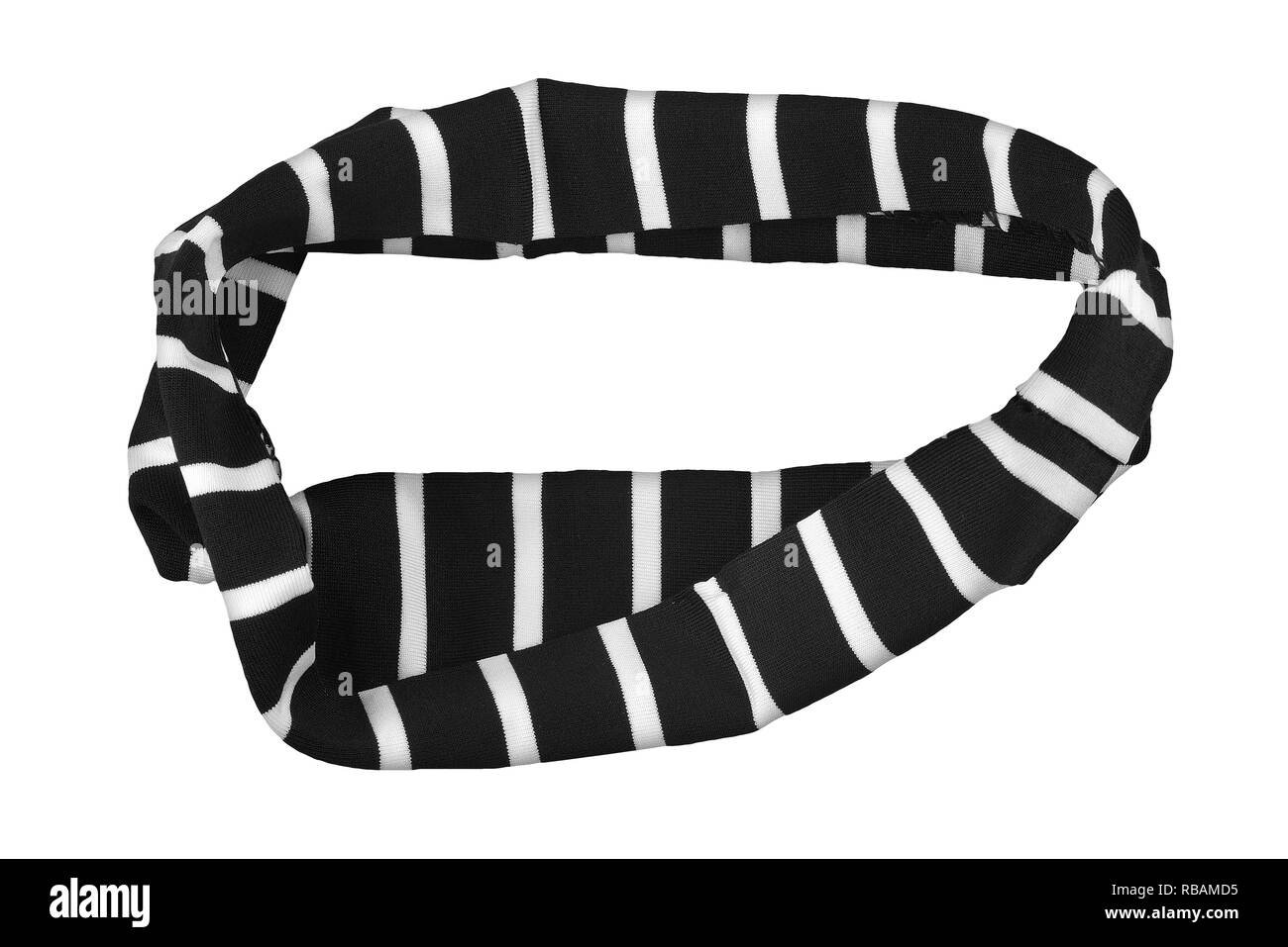 Black with white stripes elastic textile headband, fashion item isolated on white background, clipping path included - Stock Image