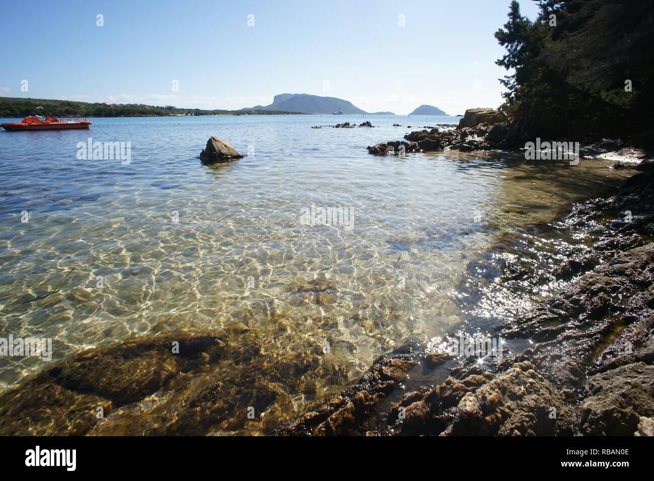 Cala Sassari beach in Marinella bay, golfo aranci, Olbia, sardinia, italy - Stock Image