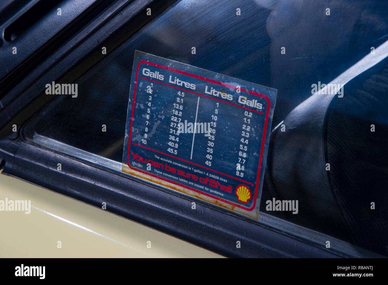 Gallons to litres conversion table sticker on a1980 Talbot Sunbeam Ti British hot hatch sports car - Stock Image