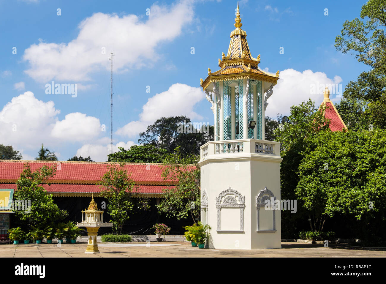 Belfry or bell tower in the Silver Pagoda compound within the Royal Palace complex. Phnom Penh, Cambodia, southeast Asia Stock Photo